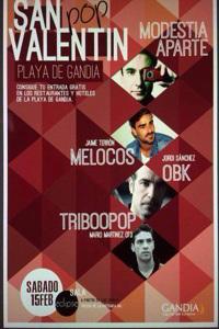 Cartel del concierto San Valentín en Gandia muy po